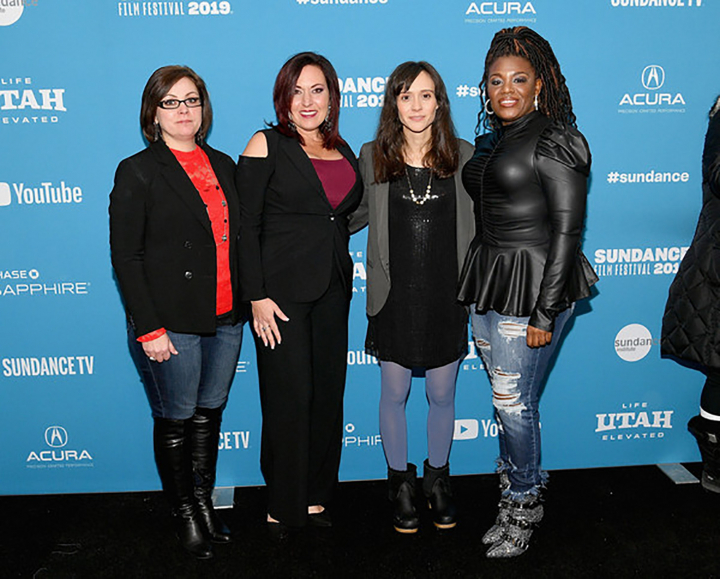 (Left to right) Paula Jean Swearengin, Amy Vilella, film director Rachel Lears, and Cori Bush at the Sundance premiere of  Knock Down the House  (photo courtesy Sundance Institute). Missing is Congresswoman Alexandria Ocasio Cortez, who scored one of the greatest upsets in political history in her defeat of Joe Crowley..