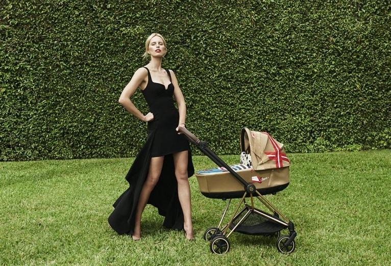 Karolina Kurkova with new new Cybex stroller design.