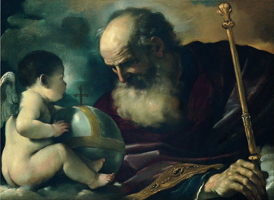 GOD the Father and Angel Guercino Giovan Francesco Barbieri via Wikimedia Commons.
