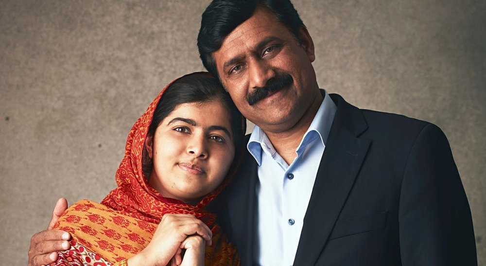 Malala Yousafzai and her father Ziauddin Yousafzai  via National Geographic Australia