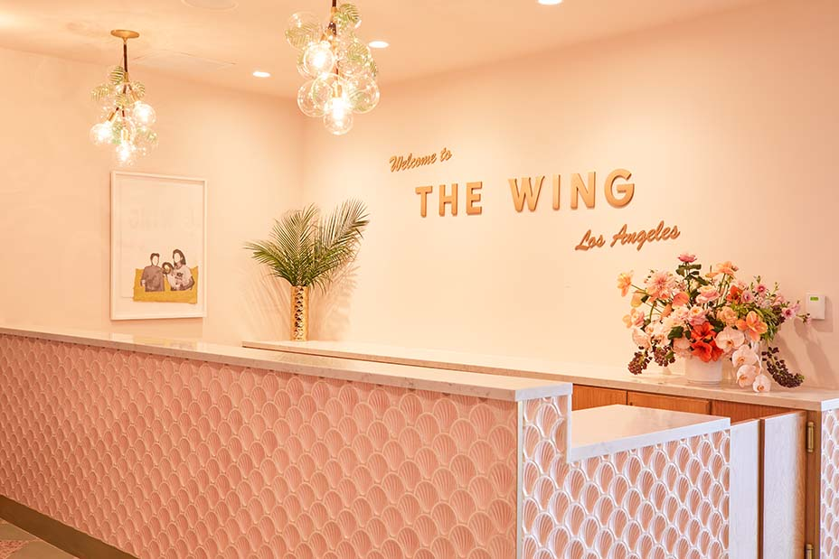 Reception desk at The Wing in Hollywood features seashell tiles by Cristina Celestino. Image Madeline Tolle/The Wing.