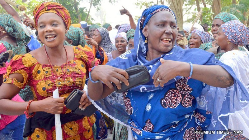 Nigerian women  callling for gender equality  on International Women's Day 2017.