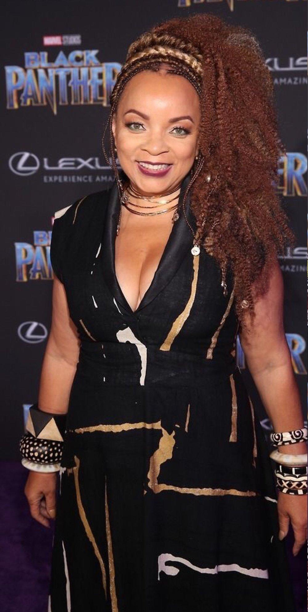 'Black Panther' costume designer Ruth Carter wore Mantsho to the movie's premier.