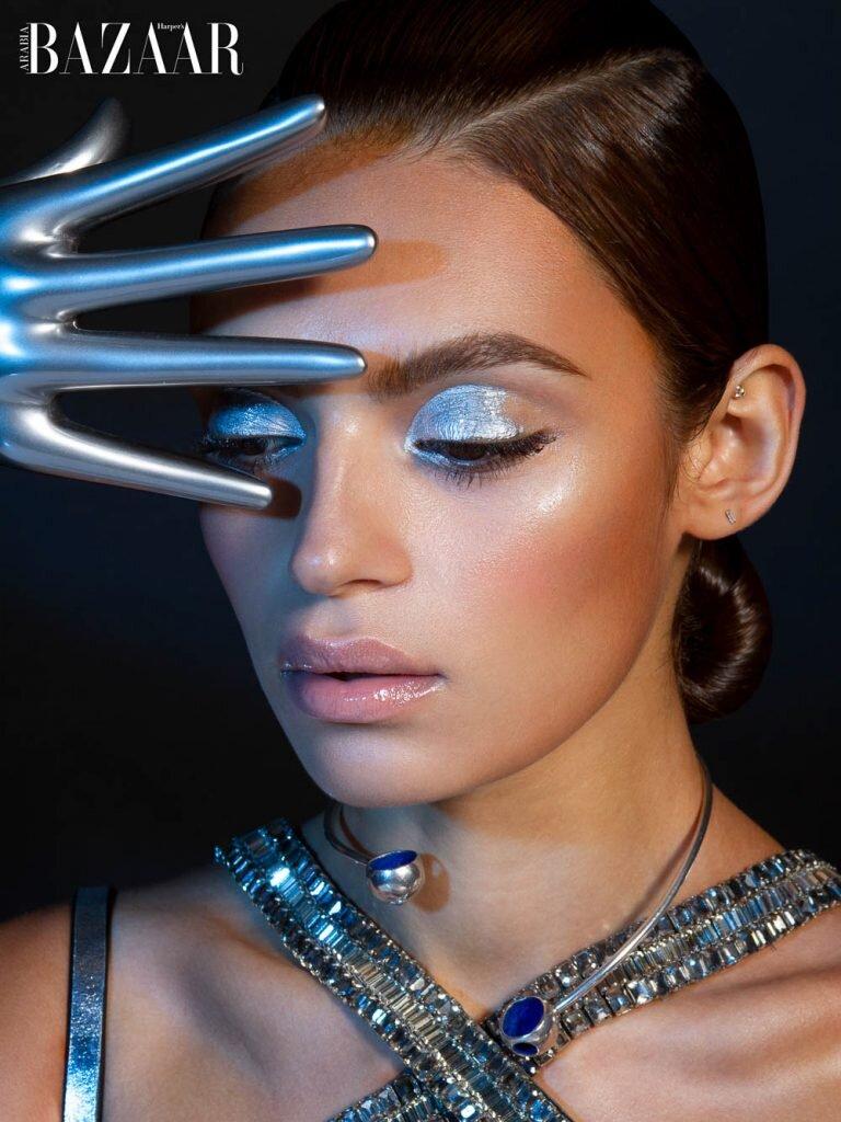 Rubina Dyan S Silvery Beauty For Harper S Bazaar Arabia Beauty Anne Of Carversville