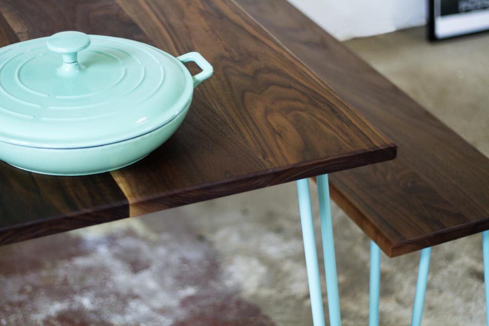 Walnut wood Dining table and bench by Cord Industries (shown with steel hairpin legs in turquoise).