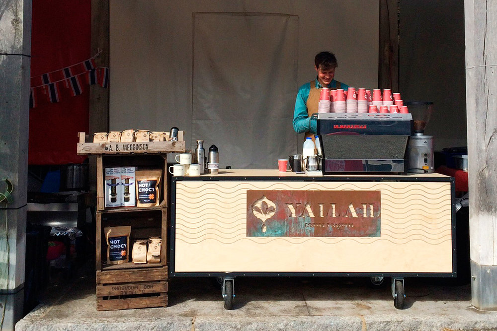 Yallah Coffee Roasters mobile barista coffee cart