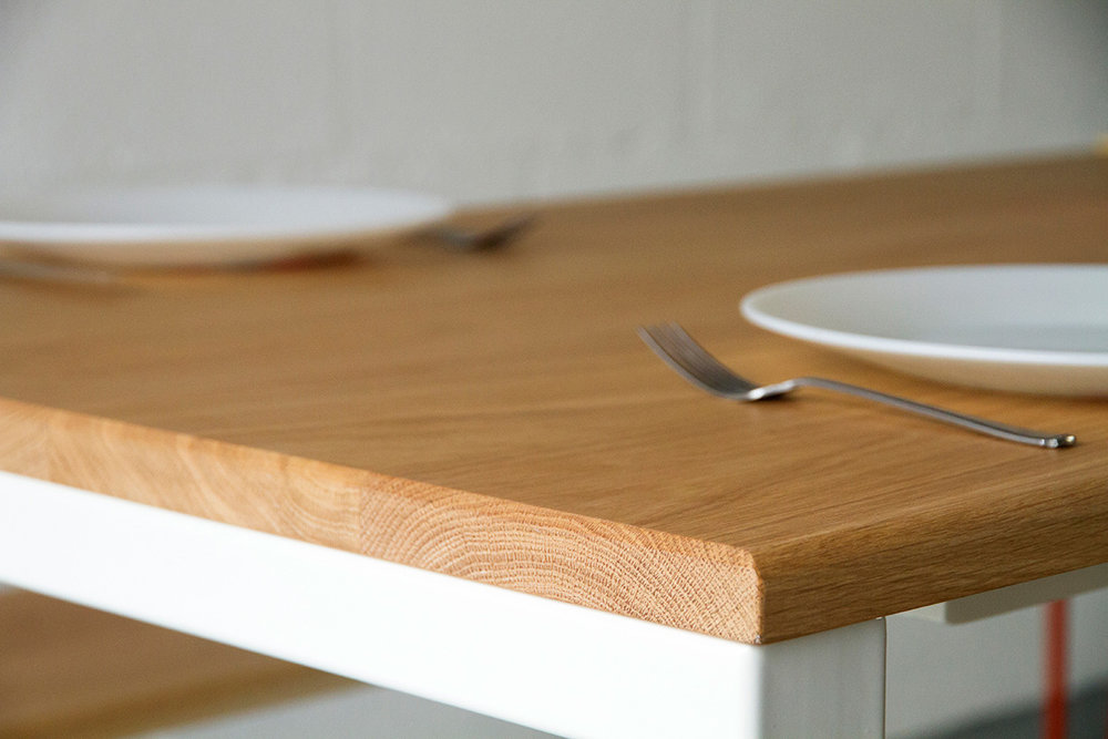 European Oak table top on Cord Industries Nola legs in white.
