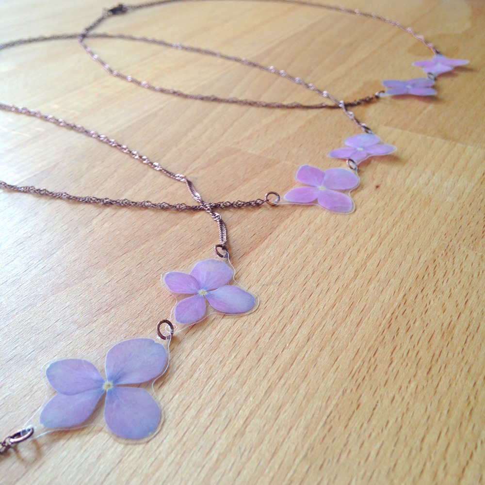 purple hydrangea pressed flower necklaces bridesmaids gift