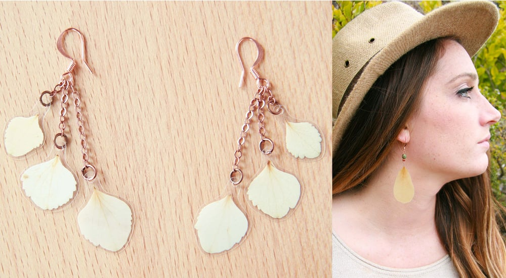 IMPRESSED by nature white hydrangea pressed flower earrings rose petals