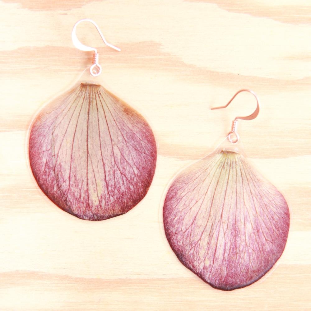 hellebore pressed petal earrings