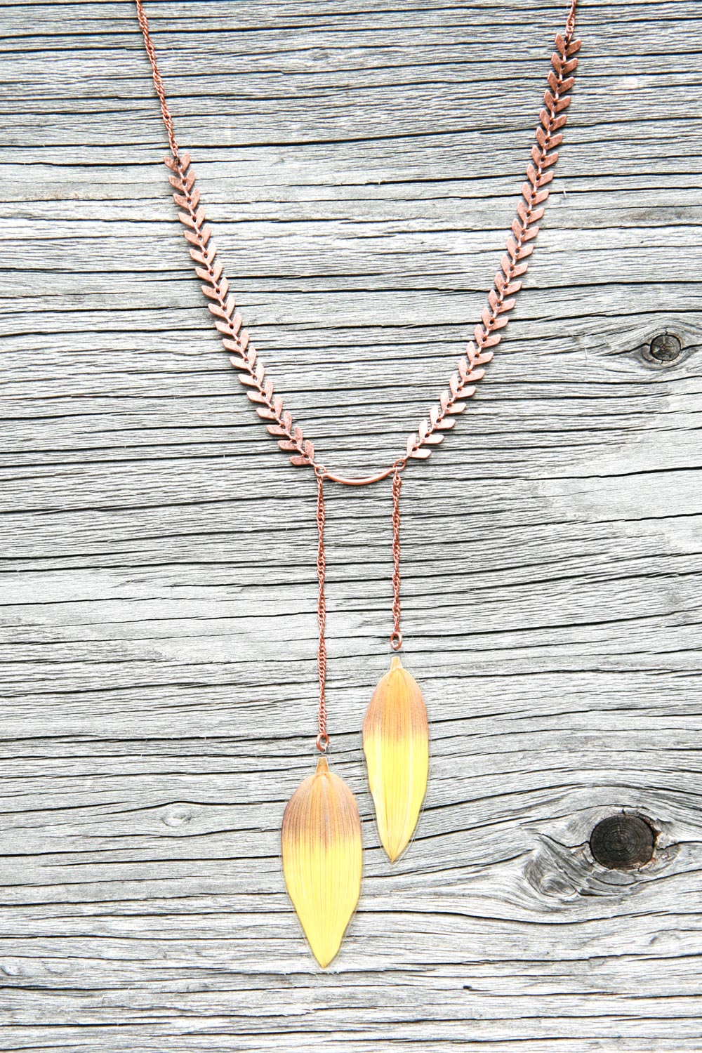 brown sunflower petal copper necklace
