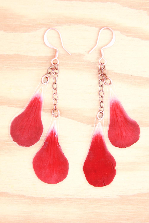 aurora red geranium pressed flower petal earrings copper