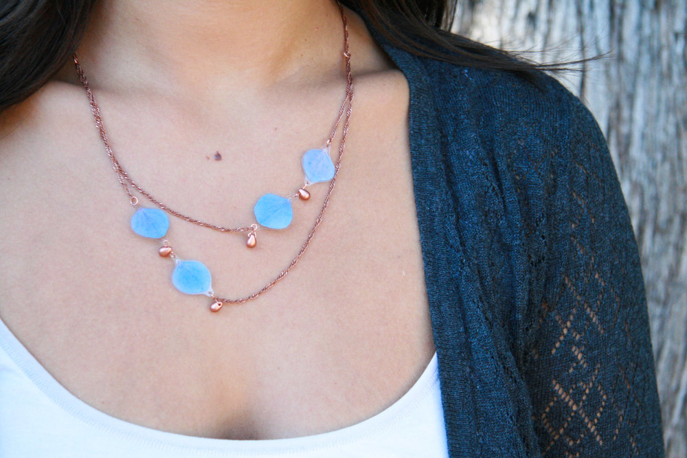 blue hydrangea elegant flower necklace