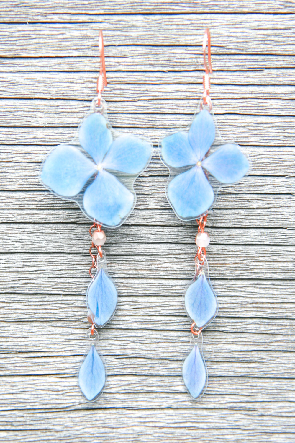 cool blue hydrangea rain earrings