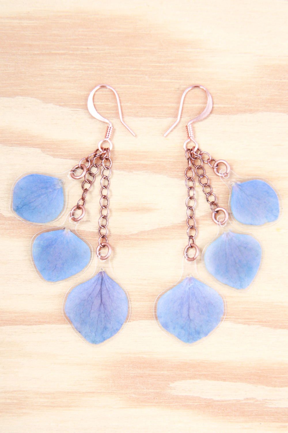 simple layered blue hydrangea earrings