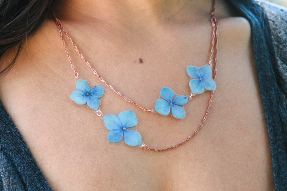 flower power necklace blue hydrangea