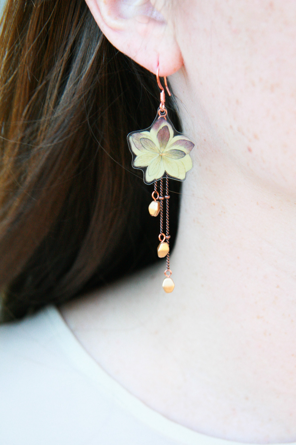 red green hydrangea pressed flower earrings