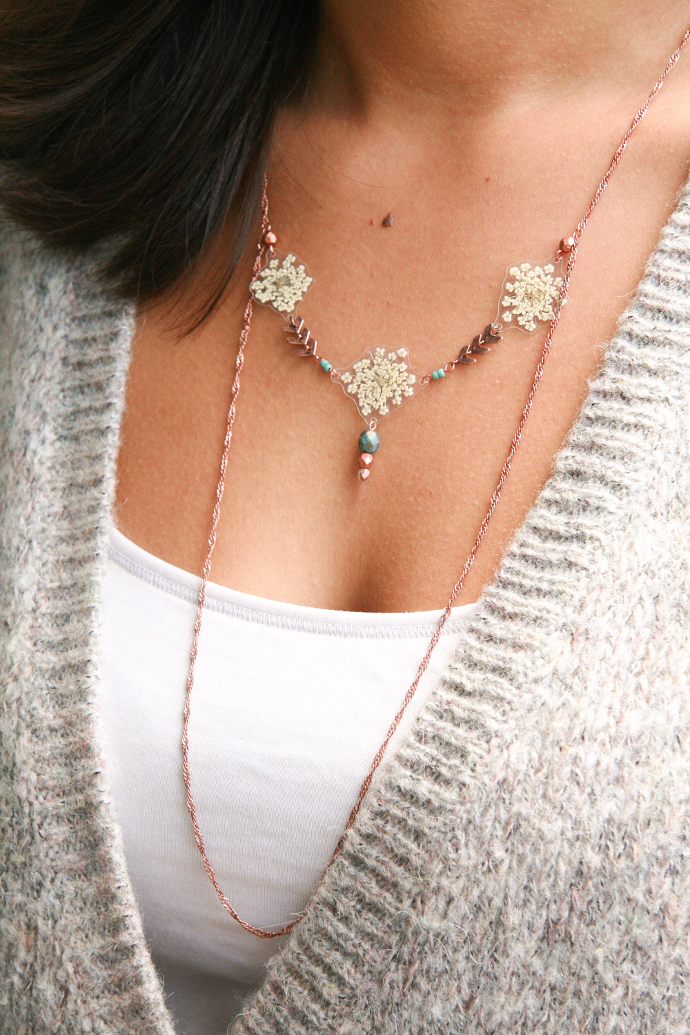 white queen annes lace copper necklace