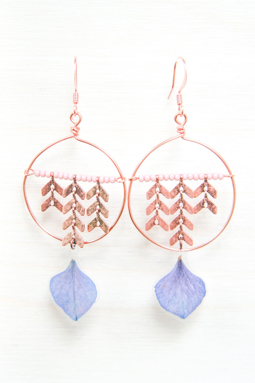 purple hydrangea copper chevron earrings - IMPRESSED by nature