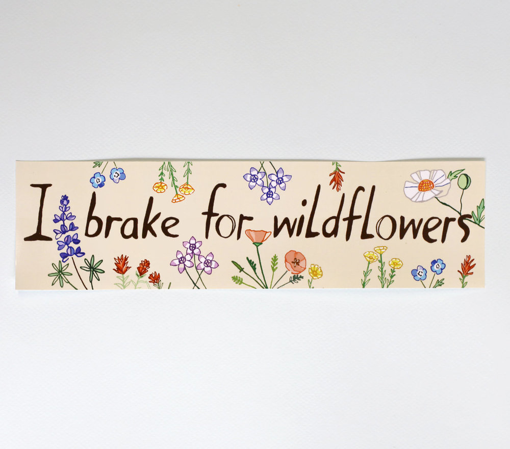 Maria Schoettler I Brake For Wildflowers Bumper Sticker