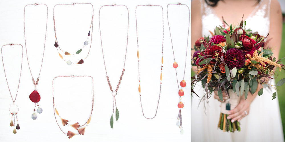 A set of necklaces for Amanda and her loved ones with eucalyptus, ranunculus, roses, hydrangeas, dahlias, and daisies! Florals by  Flowers By Danielle  | Bouquet Photo by  Tim Nosenzo