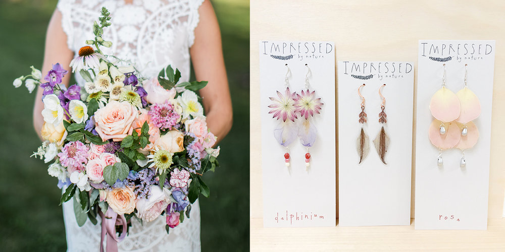A set of earrings with delphinium, clematis, rose & more! Florals by  Flowerwell  | Bouquet Photo by  Alexandra Meseke