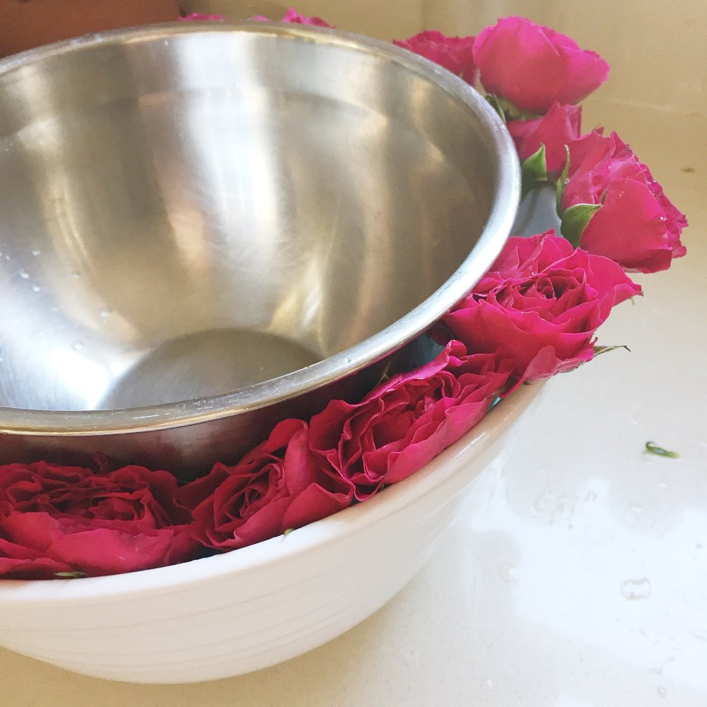 rose punch bowl diy flower theme party