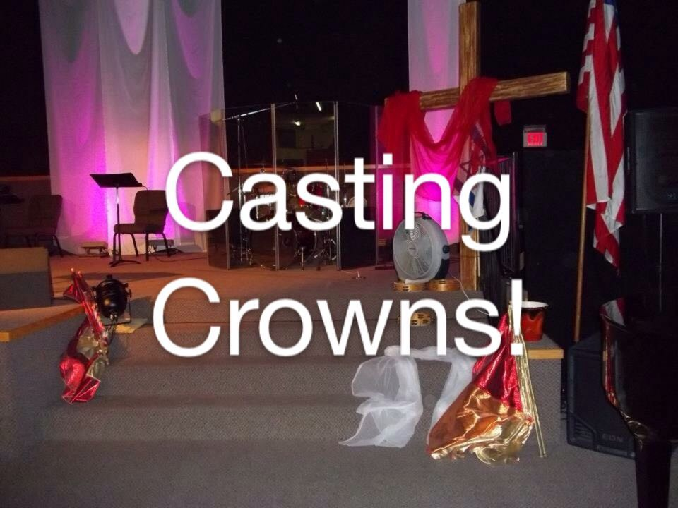 Casting Crowns! The Altar with banners. 2015.JPG
