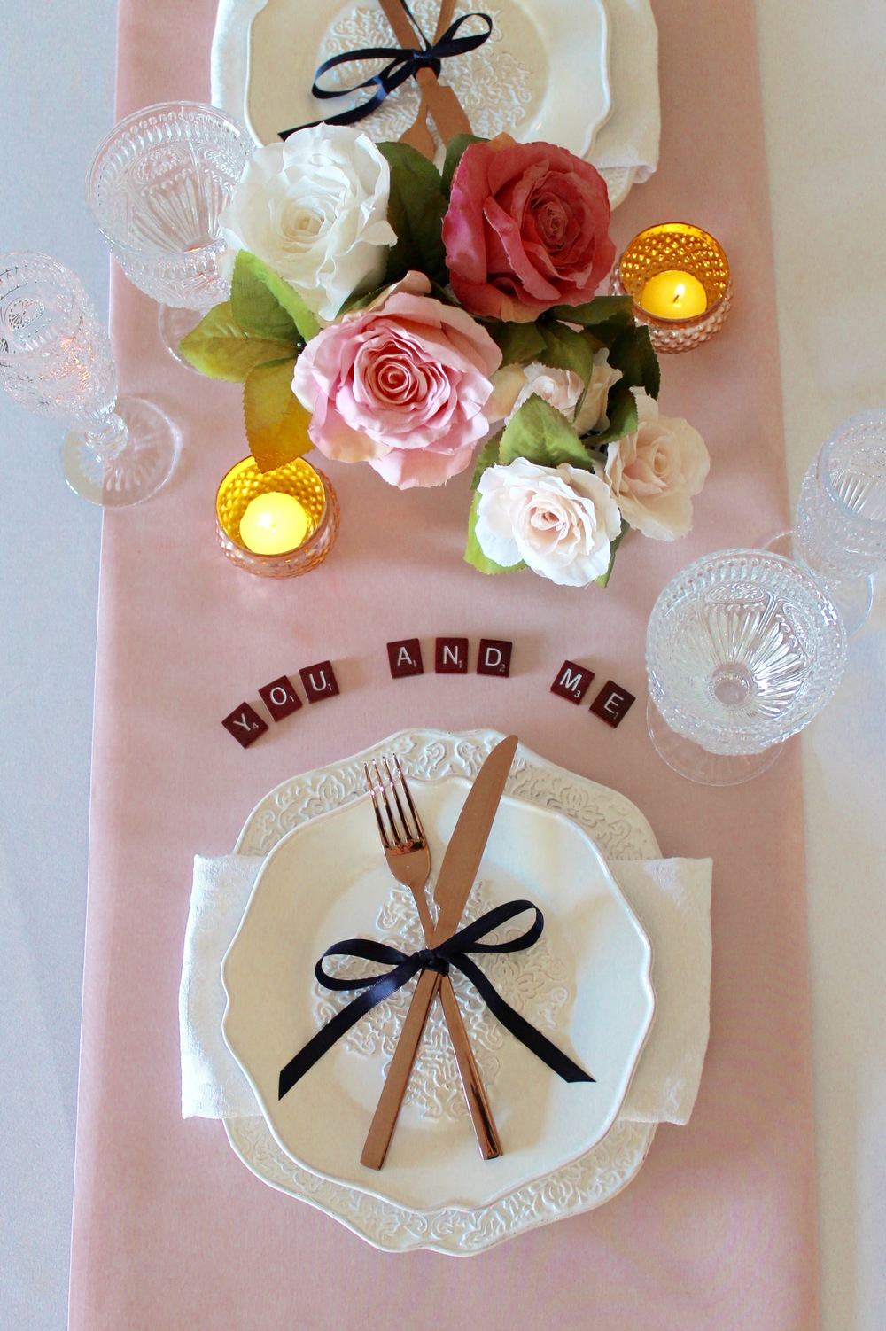 Product Featured: Modern Ornate Dinner Plate and Salad Plate, Rose Gold Cutlery, Clear Vintage Hobnail Goblet and Champagne Flute, Mercury Gold Votive.