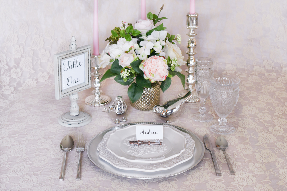 Featured Product: Modern Ornate Dinner Plate and Salad Plate, Key to my Heart Place Card Holder, Clear Vintage Hobnail Goblet and Champagne Flute, Rustic Table Number, Silver Candle Holders, Silver Hobnail Vase, Silver Cutlery.