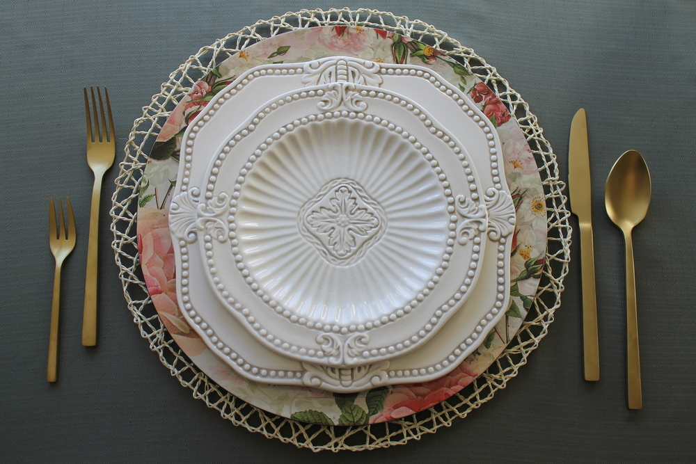 Featured product: Woven Charger Underlay, Floral Charger Plate, Antique Baroque Dinner and Salad Plate, Matte Gold Cutlery