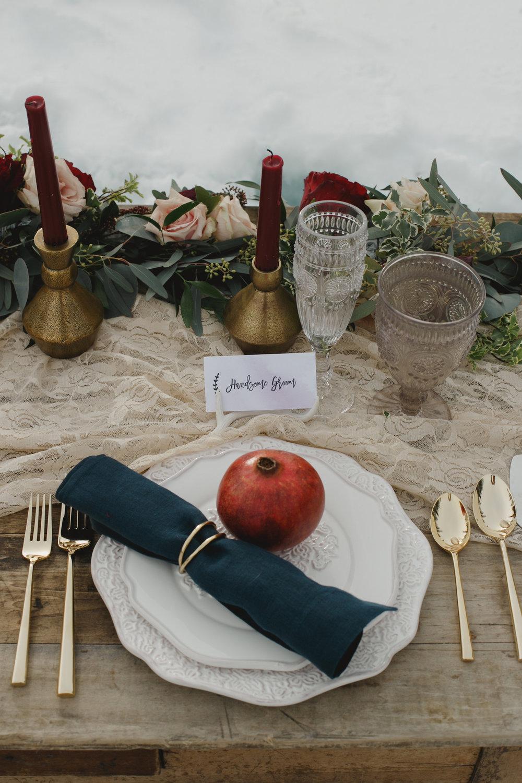 Modern Ornate Dinner Set, White Antler Place Card Holder, Smoke Goblet, Clear Champagne Flute