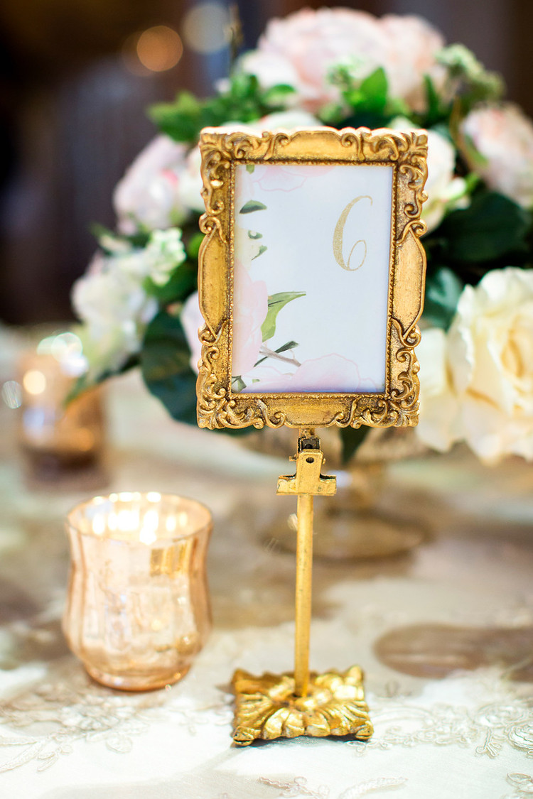Gold Frame Table Number - Rectangle or Oval — Gathered Table Supply Co.