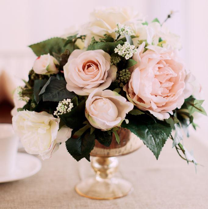 Blush ivory arrangement gathered table supply co blush pink white ivory silk floral arrangement centrepiece calgary event dcor rentals wedding rentals special event mightylinksfo
