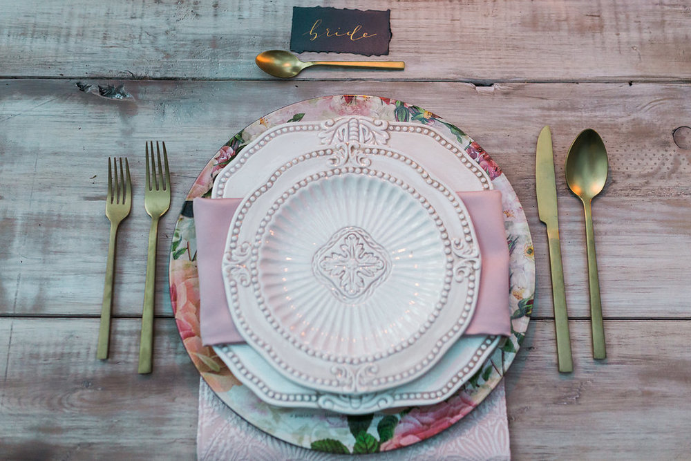 Get the look: matte gold cutlery, antique baroque plates, floral charger plates