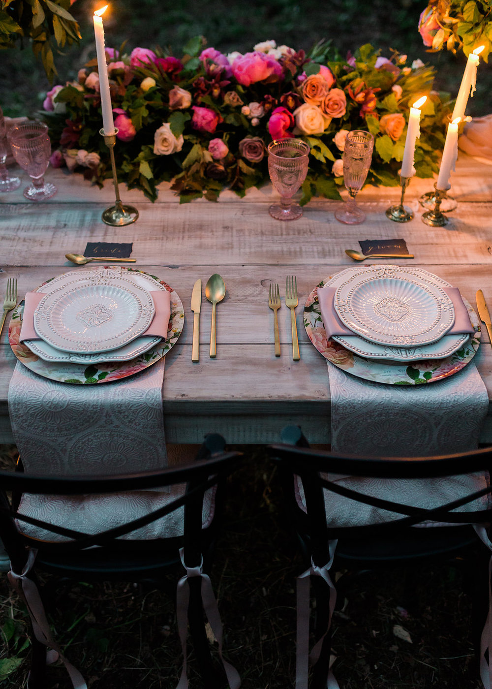 Get the look: gold candleholders, matte gold cutlery, floral charger plates, antique baroque plates, blush hobnail goblets and champagne flutes
