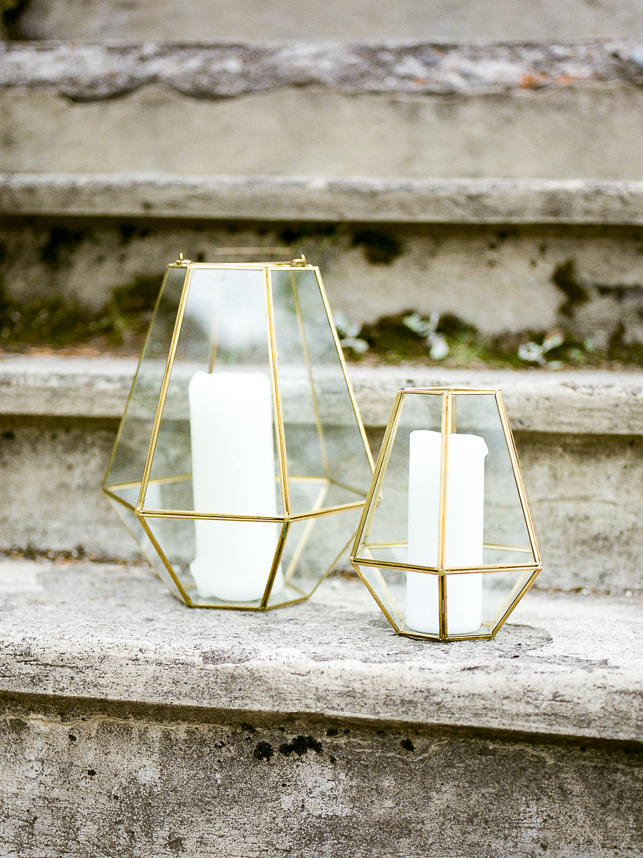 Get the look: gold geometric lanterns