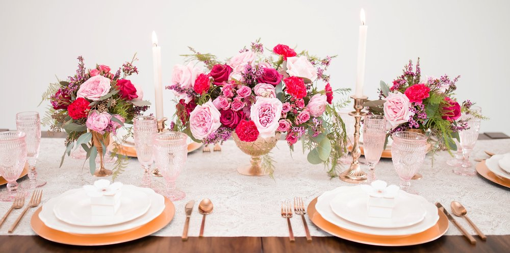 Rose Gold Cutlery, Blush Goblet & Flute, Gold Charger Plate, Vintage Candleholder, Gold centrepiece, Wedding Favours
