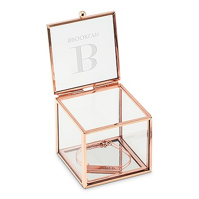 Small Glass Jewelry Box With Rose Gold Modern Serif Initial