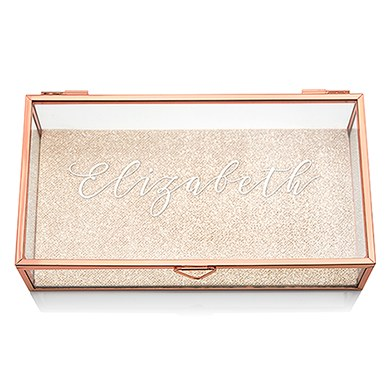 Glass Jewelry Box With Rose Gold Elegant Calligraphy Printing