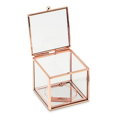Small Glass Jewellery Box With Rose Gold Edges Gathered Table