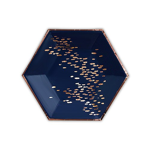 d09cf1242 Rose Gold & Navy Hexagon Party Plates - Small — Gathered Table Supply Co.