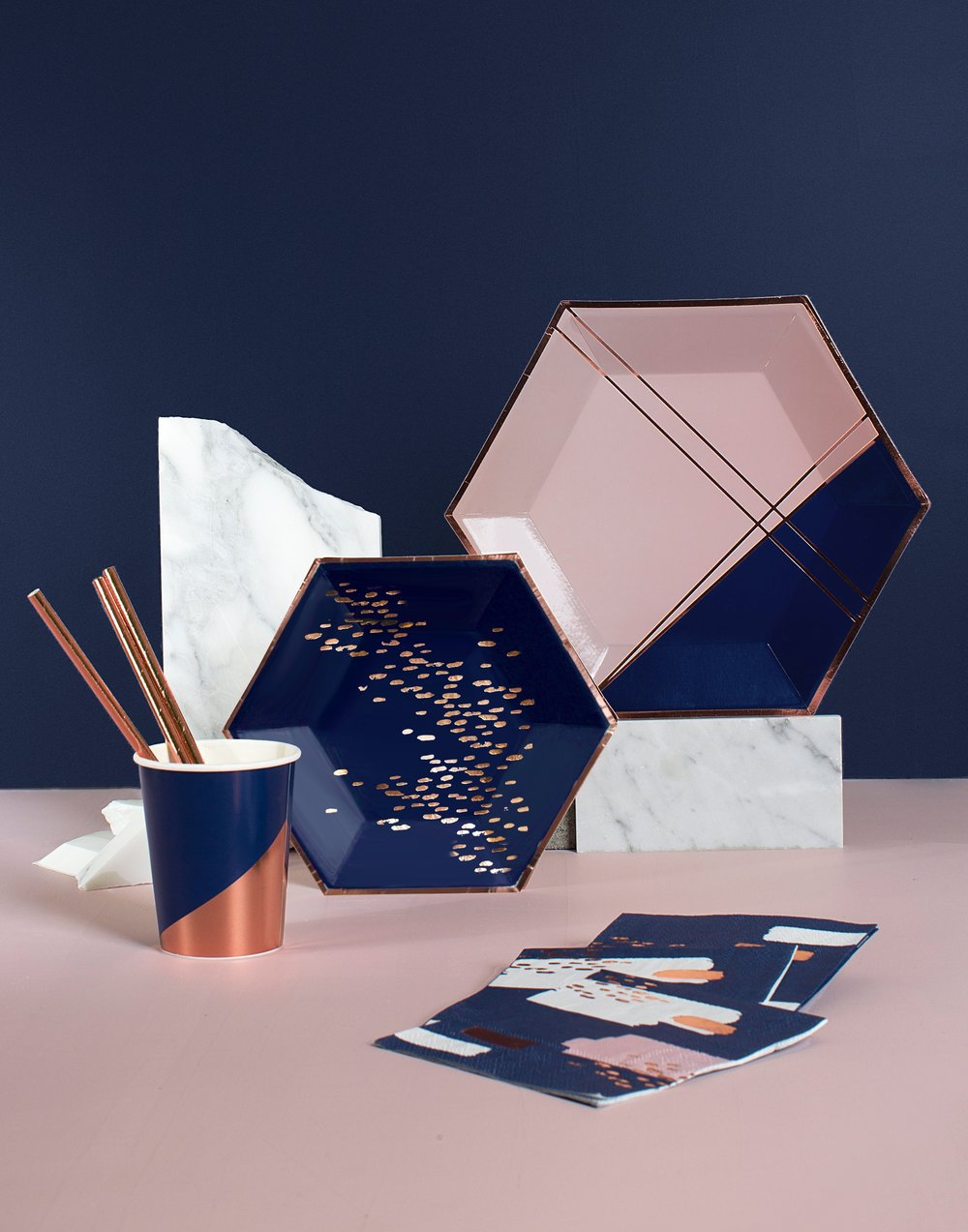 Navy Rose Gold Party In A Box Gathered Table Supply Co