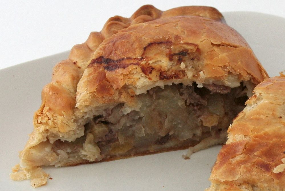 A steak and vegetable pasty