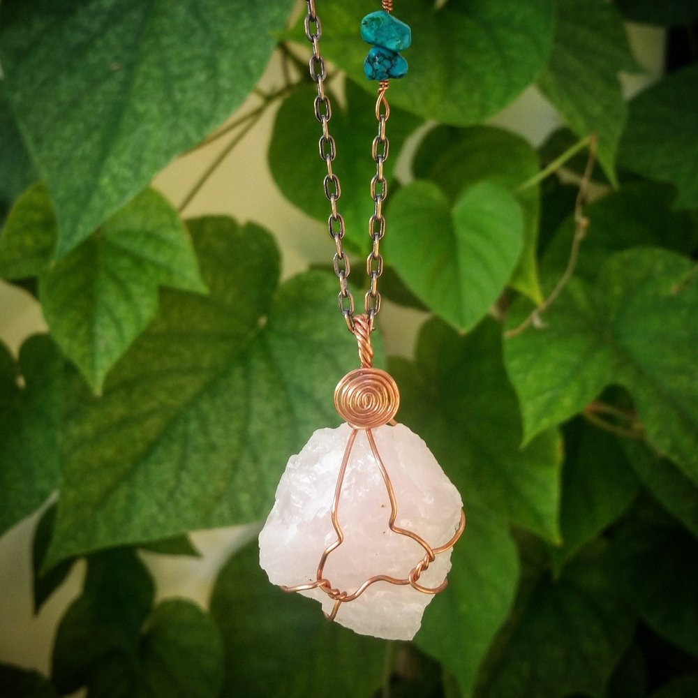 Go to my Instagram @peachykeencreations to find out how to enter to win this rose quartz, copper and turquoise necklace!