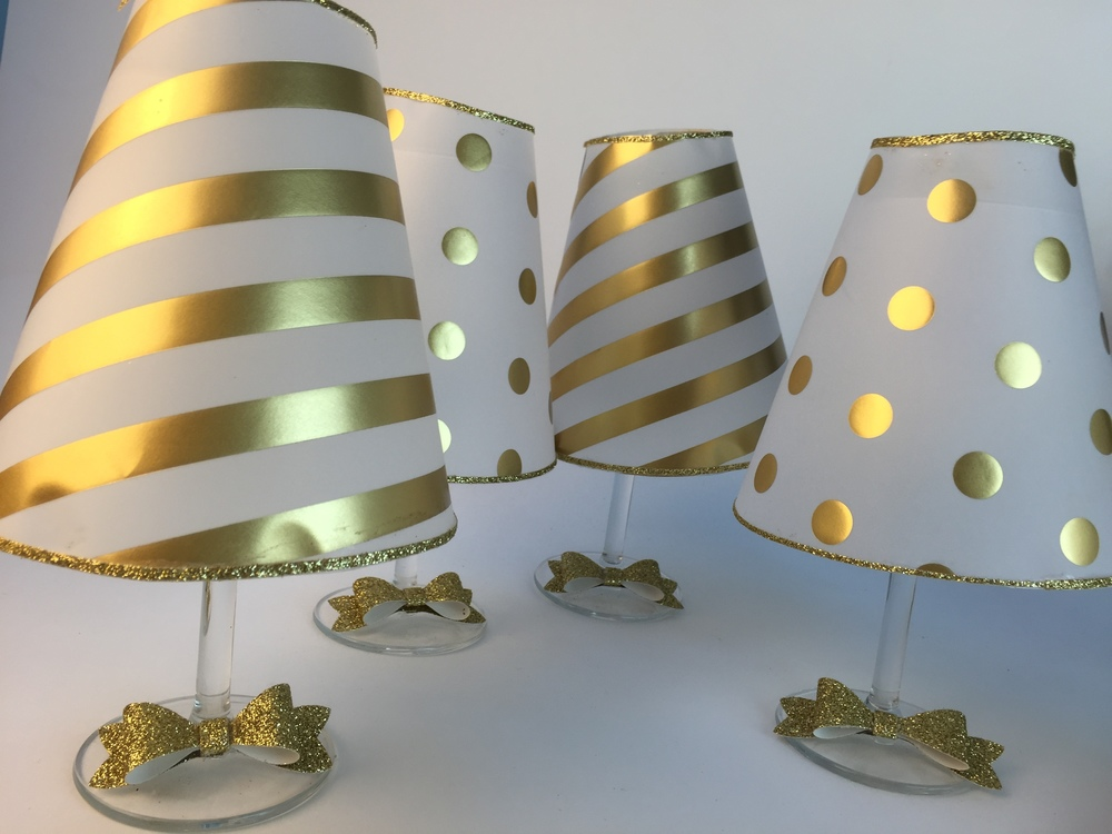 Wine Glass Lampshades In Gold Vellum