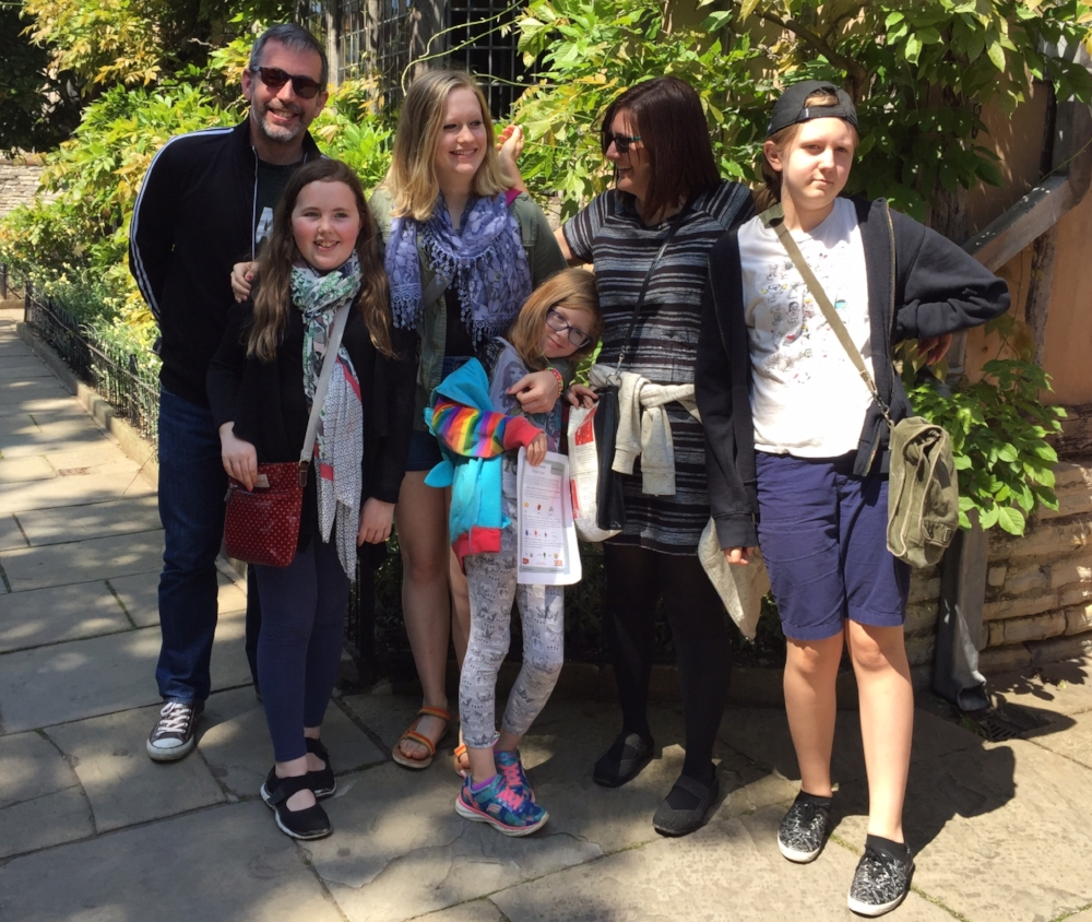 Stratford-Upon-Avon. June 2016. Steve, his daughter Eleanor, family friend Grace, my daughter Julia, me, and my daughter Alaina.