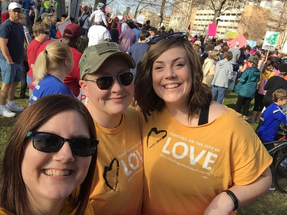 me with two of the kindest Americans I know. At the Women's March in Birmingham, Alabama