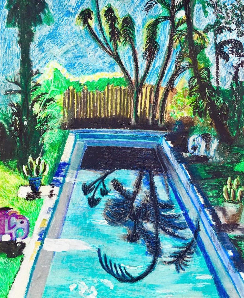 "Papa's Pool Where his Boxing Ring Once Stood, Irrational Hope, mixed media on Paper, 14""x17"""