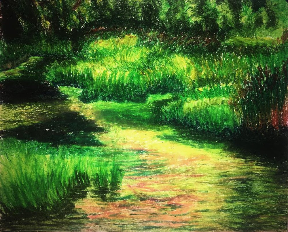 "Somewhere in the Swamps of Jersey, Oil Pastel on Paper, 14""x17"""
